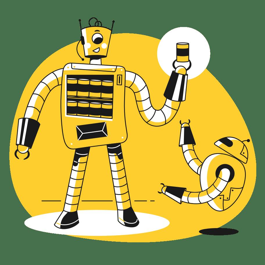 tuotteistuspauri - keltainen robotti